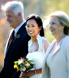 Bride together with parents